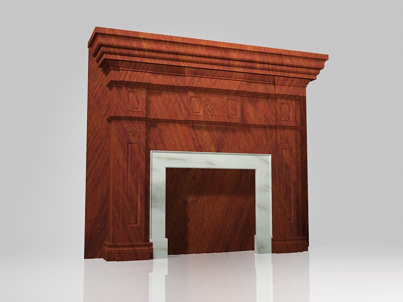 Fireplace Mantel Surrounds Wood 3d rendering