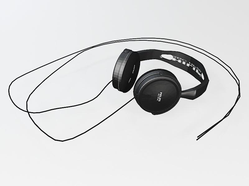 Philips Earphone 3d rendering