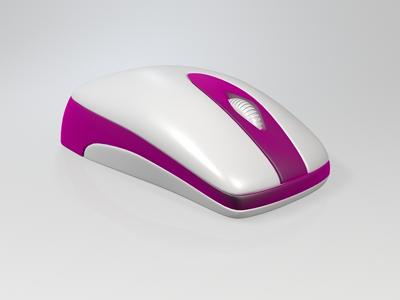 Pink Wireless Mouse 3d rendering