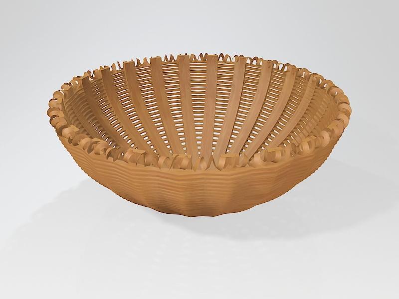 Hand Woven Basket 3d rendering