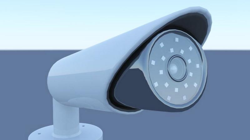 Outdoor Bullet Security Camera 3d rendering
