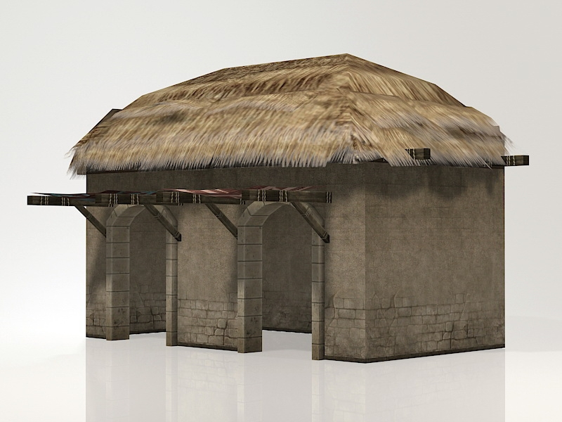 Thatched Storehouse 3d rendering