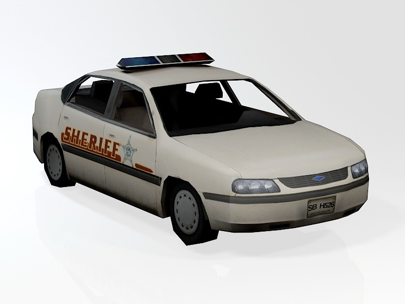 Low Poly Sheriff Car 3d rendering