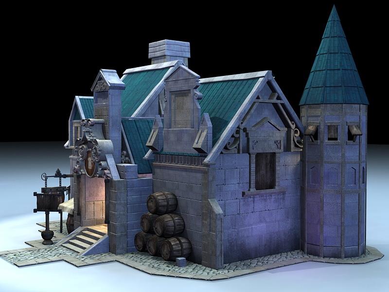 Medieval Tavern Outside 3d rendering