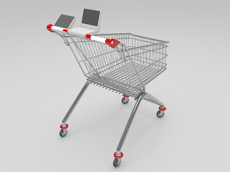Wire Shopping Cart 3d rendering