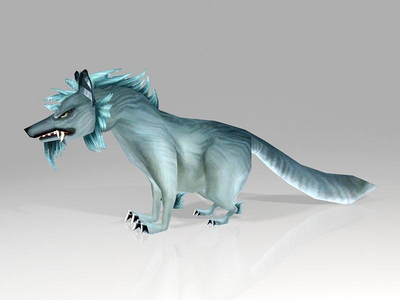 Scary Wolf Cartoon 3d rendering