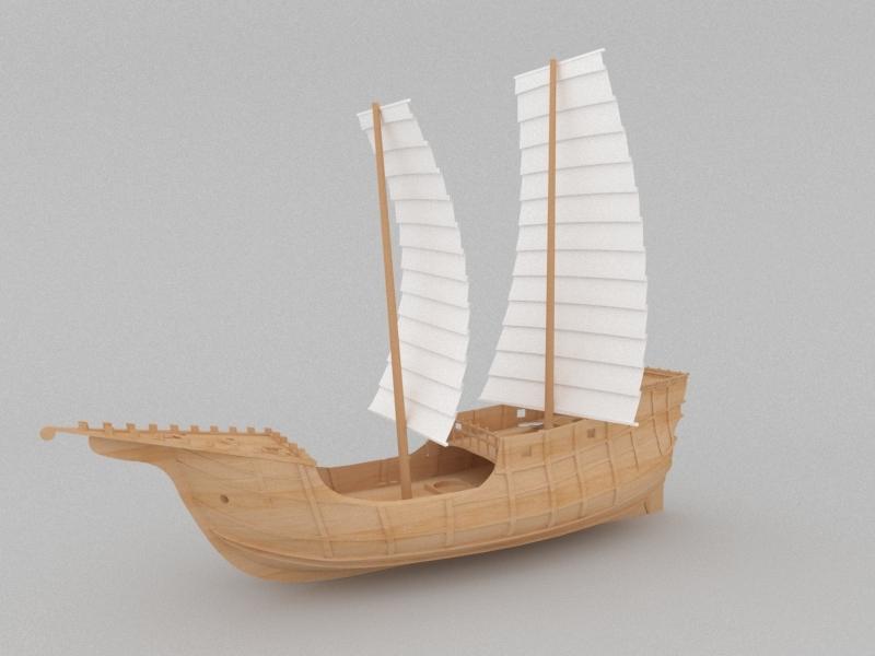 Ancient Merchant Ship 3d rendering