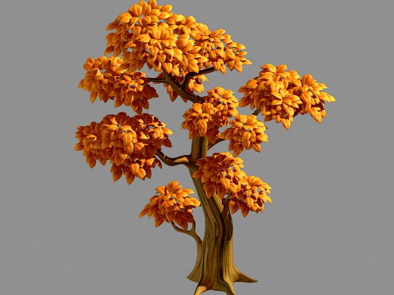Yellow Tree Cartoon 3d rendering