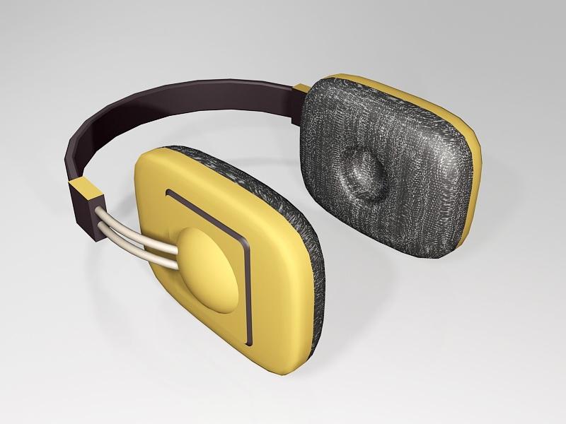 Yellow Audio Headphone 3d rendering