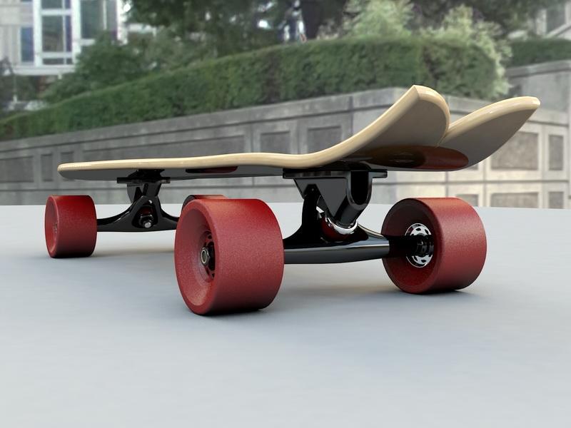 Mini Cruiser Skateboard 3d rendering