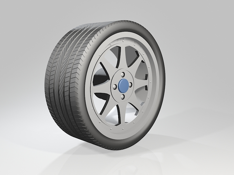 Car Rim with Tire 3d rendering