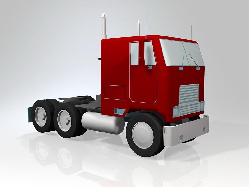 Semi Truck Tractor 3d rendering