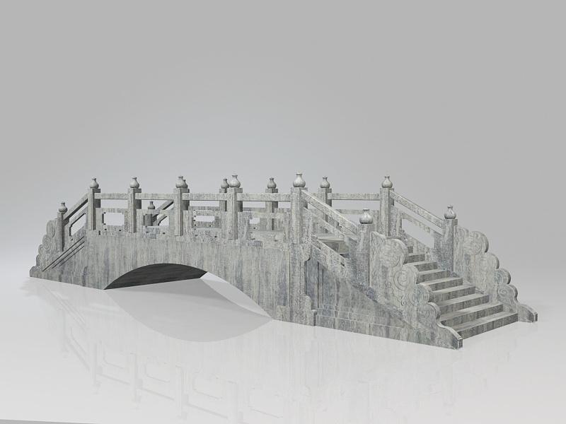 Stone Garden Bridge 3d rendering