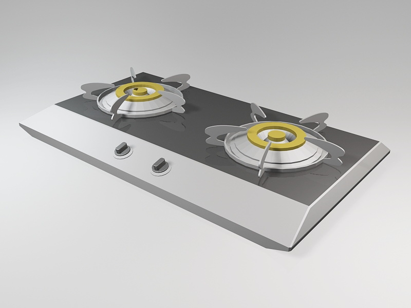 Gas Stove Cooktop 3d rendering