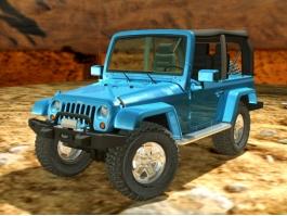 Blue Jeep Wrangler 3d preview
