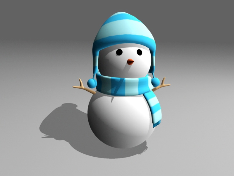 Cute Cartoon Snowman 3d rendering
