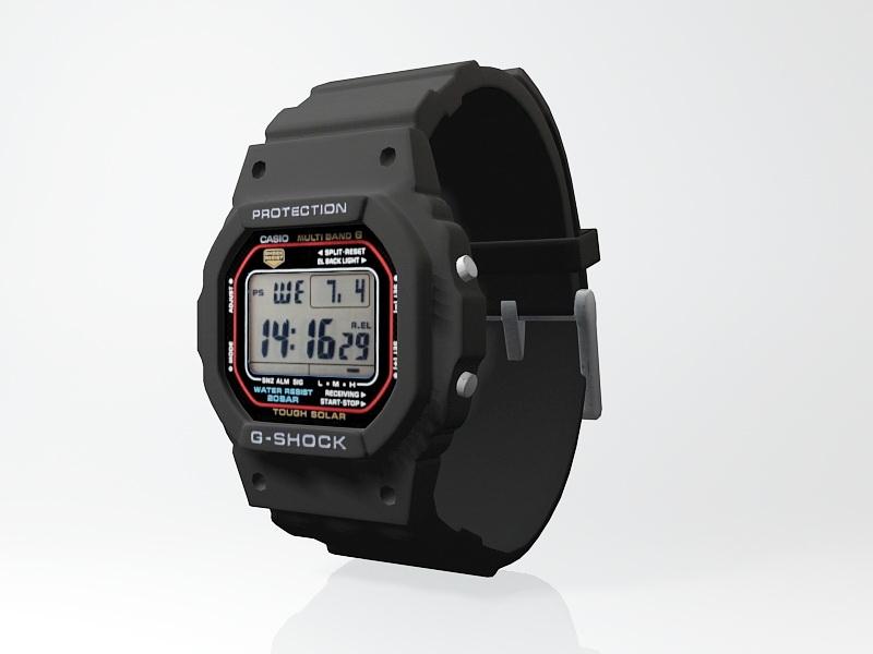 Black G-Shock Watch 3d rendering