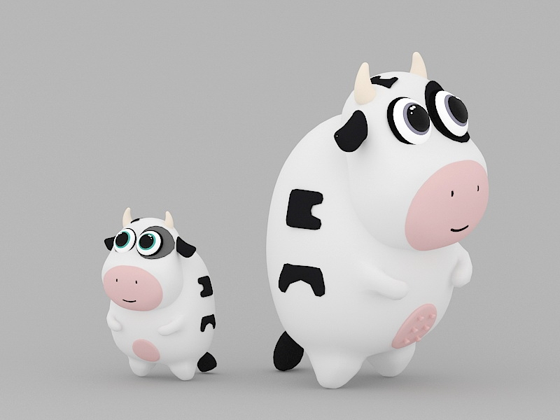 Cartoon Cow Mom and Baby 3d rendering
