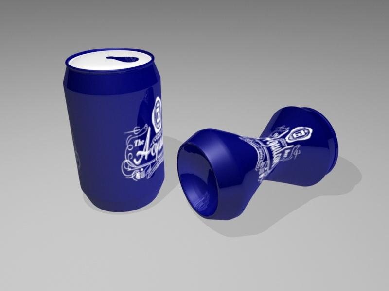 Blue Beer Can 3d rendering