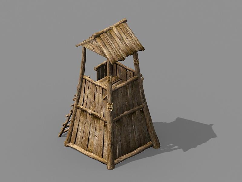 Vintage Wooden Guard Tower 3d rendering