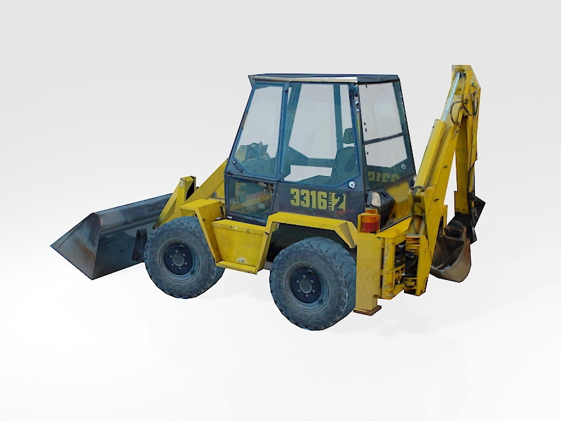 Low Poly Bulldozer 3d rendering