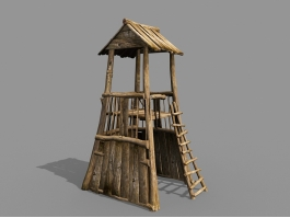 Vintage Wooden Guard Tower 3d preview