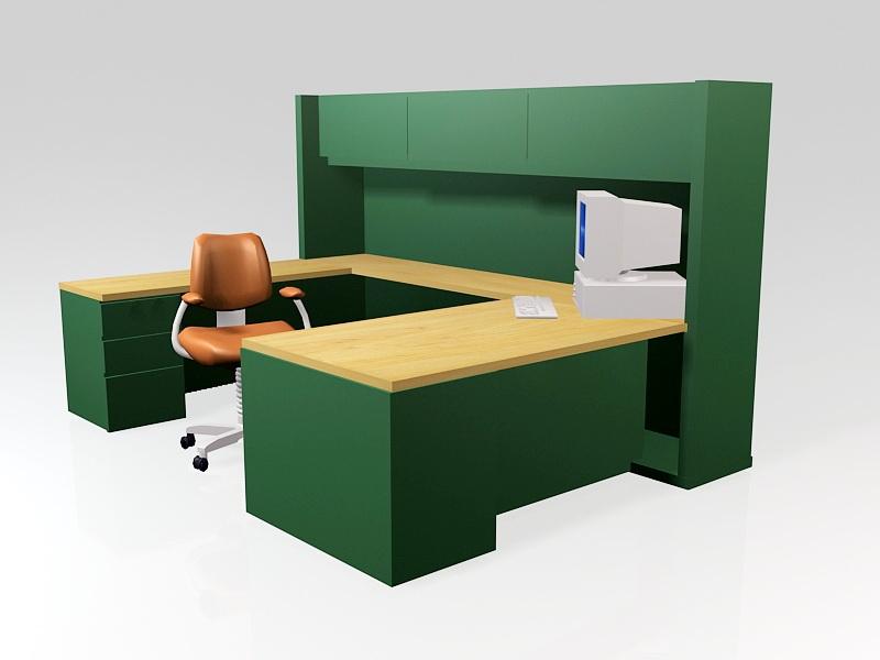 Open Office Workstations 3d rendering