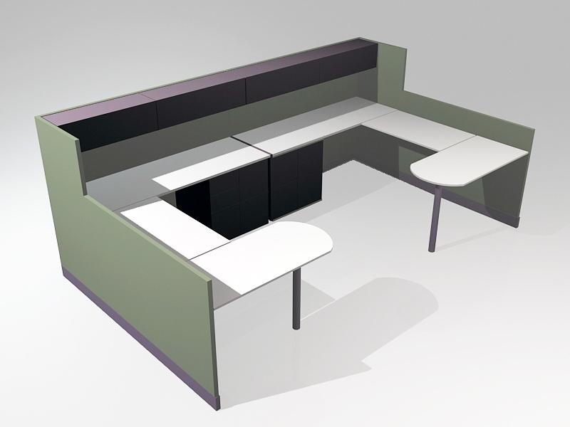 Modular Office Furniture Cubicles 3d rendering