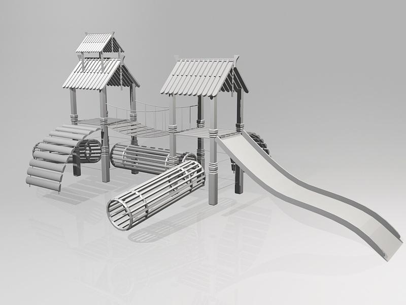 Park Playground Slide 3d rendering