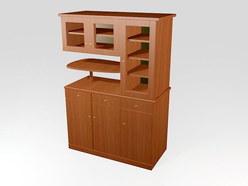 Wood Kitchen Storage Cabinet 3d rendering