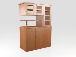 Wood Kitchen Storage Cabinet 3d preview