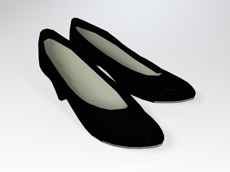 Black Flat Dress Shoes 3d rendering