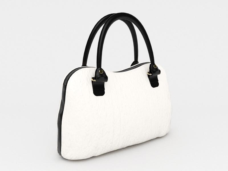 Ladies White Handbag 3d rendering