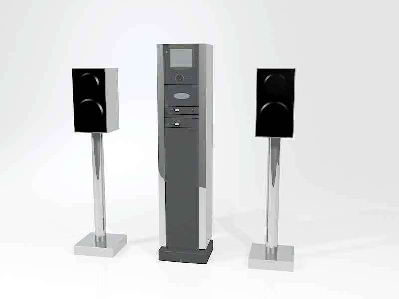 Professional Audio Palyer and Speakers 3d rendering