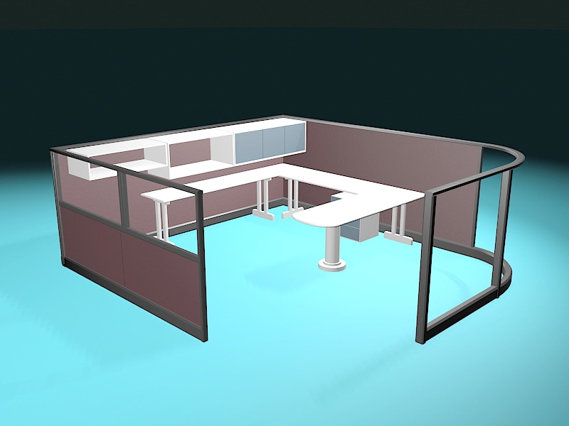 Glass Office Cubicles 3d rendering