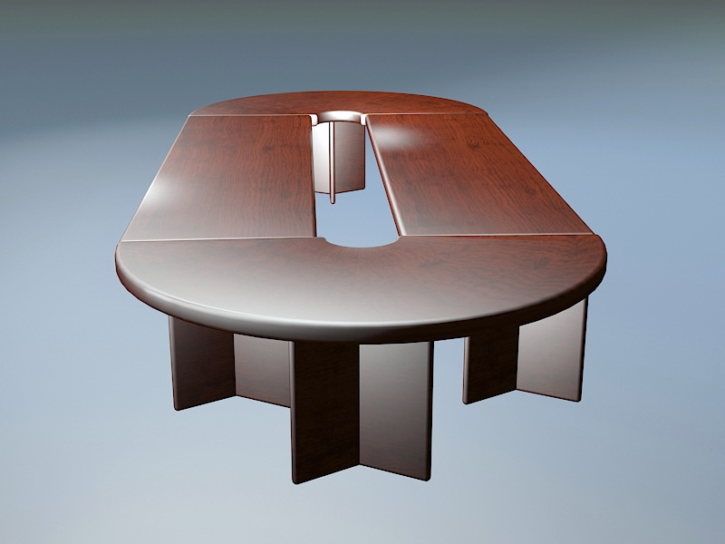 Oval Conference Table 3d rendering