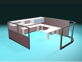 Glass Office Cubicles 3d model preview
