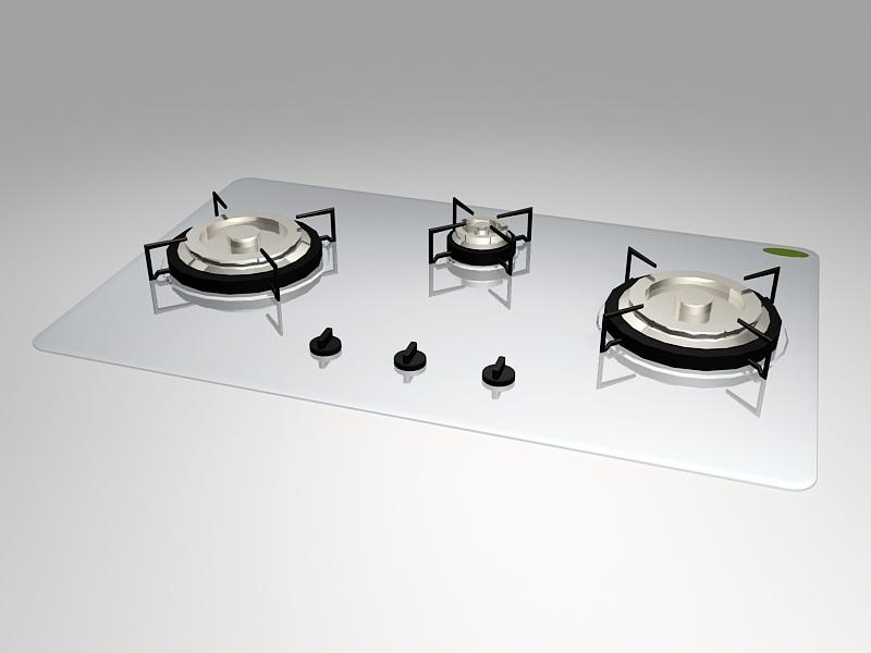 Kitchen Gas Cooktop 3d rendering