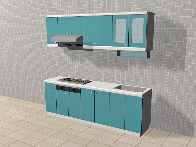 Blue Apartment Kitchen Ideas 3d rendering