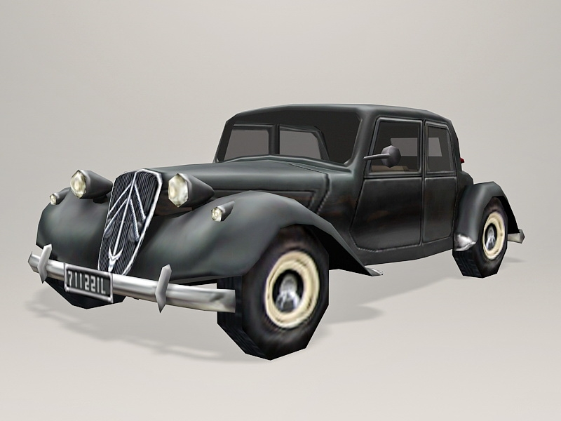 Low poly Classic Citroen Car 3d rendering