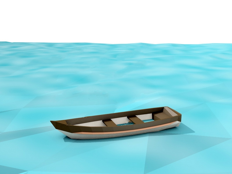 Low Poly Boat 3d rendering