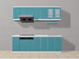 Blue Apartment Kitchen Ideas 3d preview