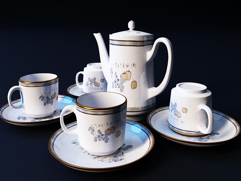 Vintage Bone China Tea Set 3d rendering