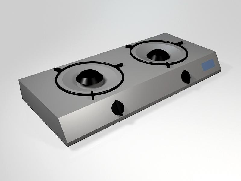 2 Burner Gas Cooktop 3d rendering