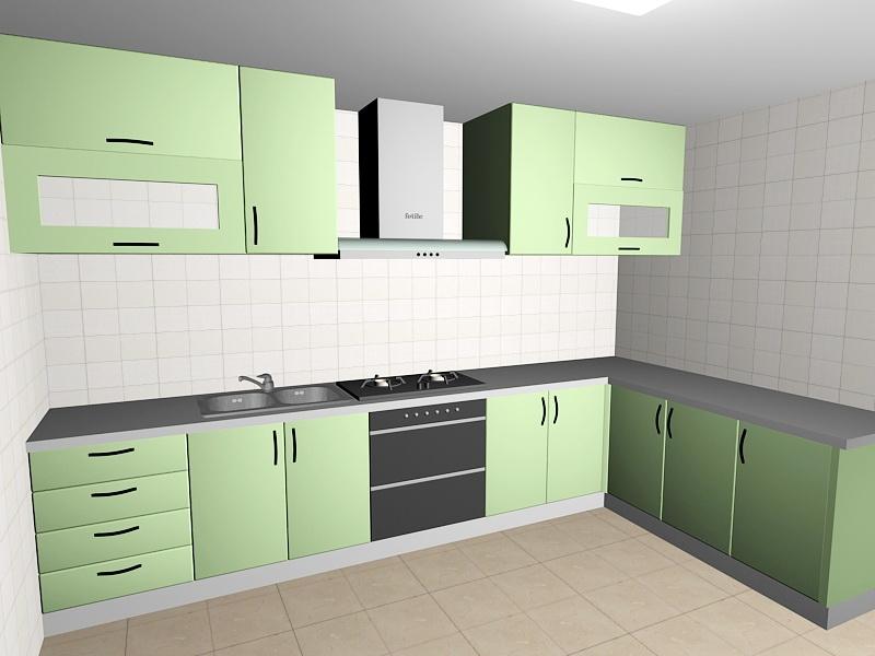 Green Kitchen Design Ideas 3d rendering