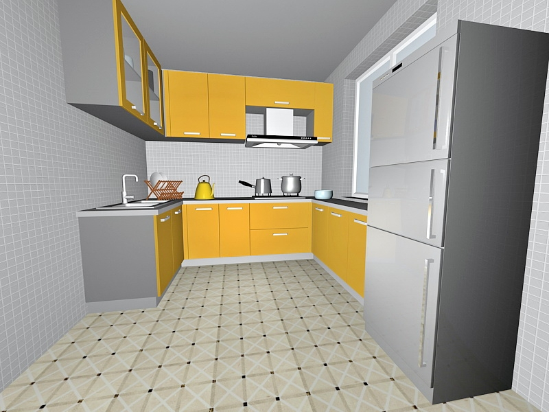 Yellow Kitchen Decor Ideas 3d rendering
