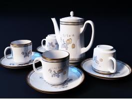 Vintage Bone China Tea Set 3d preview