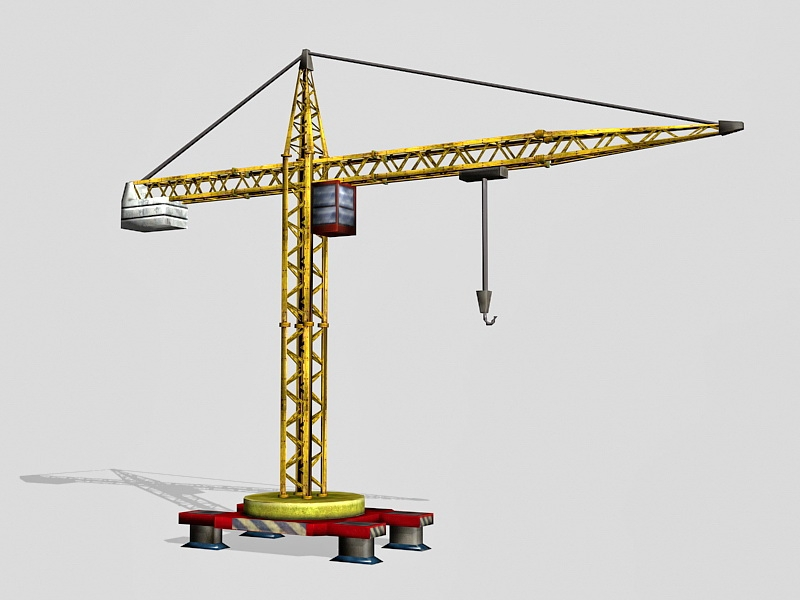 Old Tower Crane 3d rendering