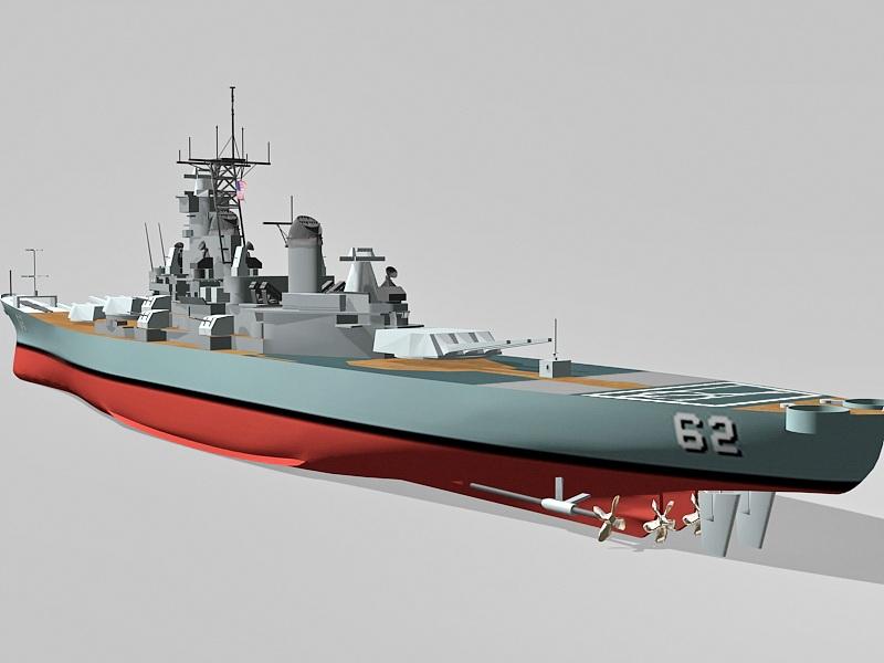 Battleship USS New Jersey 3d rendering