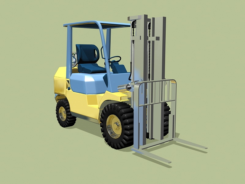 Yellow Forklift 3d rendering